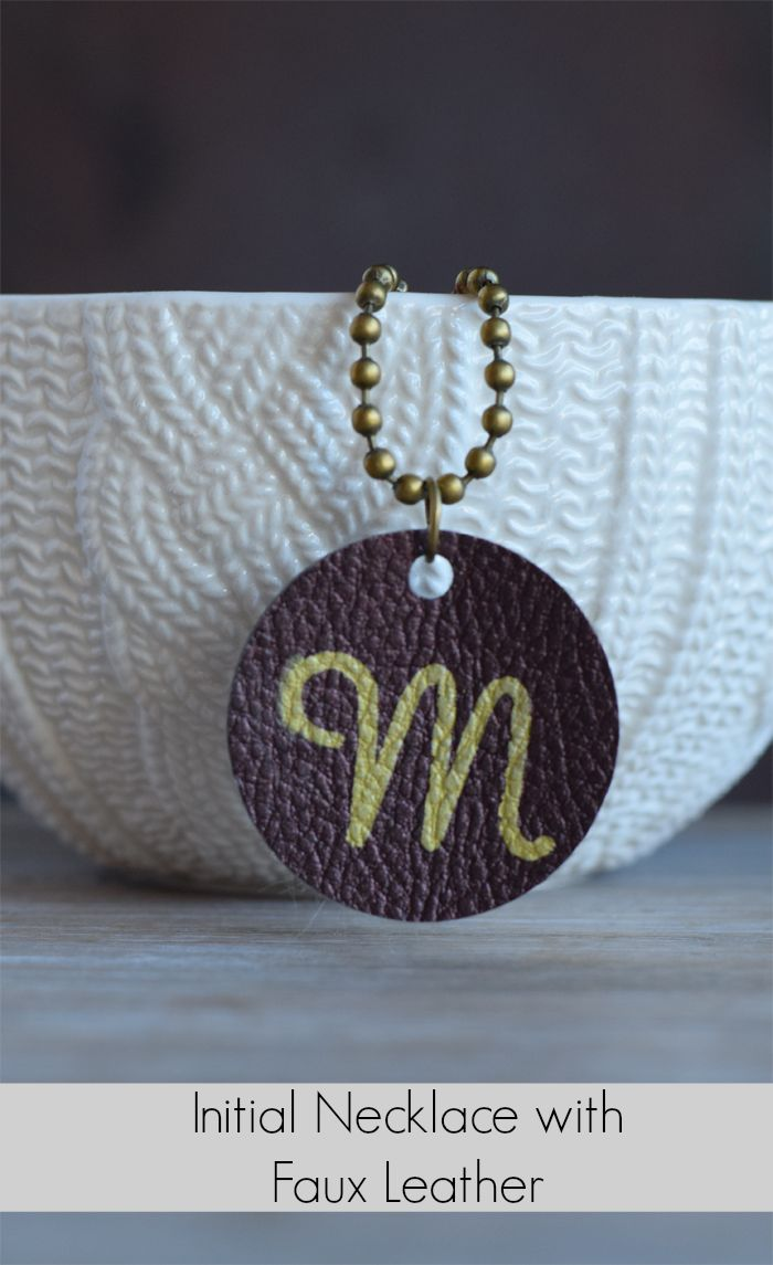 Faux Leather Initial Jewelry Pendant #sponsored by @Cricut #Cricut