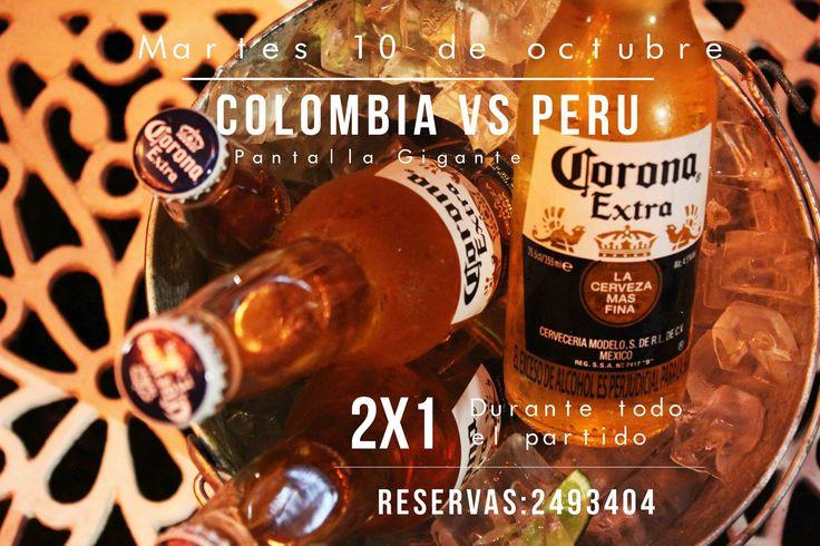 ¡Colombia vs Peru en Daniel! Durante todo el partido 2x1 de Corona, Pantalla Gigante y Especiales del Chef para celebrar la clasificación! Aca nos vemos... Reservas: 2493404 - www.daniel.com.co