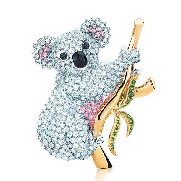 White and pink diamond koala brooch