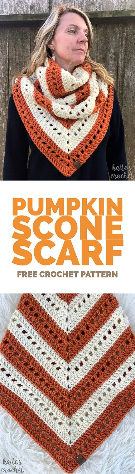 The Pumpkin Scone Scarf is the perfect addition to your pumpkin spice latte! Click for the free crochet pattern from Kaite's Crochet, A Modern Crochet Blog.
