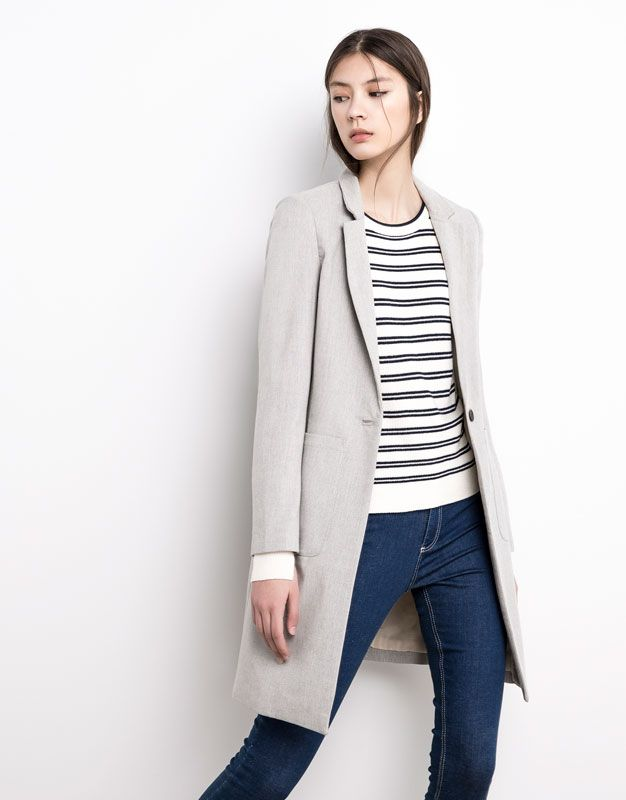 Pull&Bear - woman - new products - masculine coat - pearl grey - 05750302-V2016