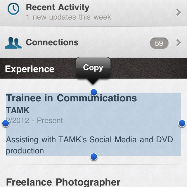 Unable to edit your profile on LinkedIn iPhone app!