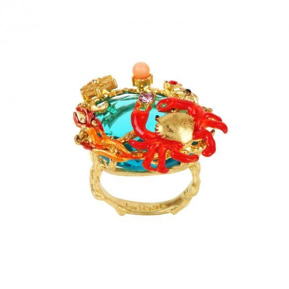 Bague pierre bleue océan, crabe et corail
