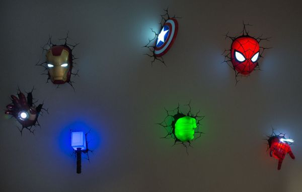 Decorate walls of your kid's room with cool 3D Marvel superhero nightlights