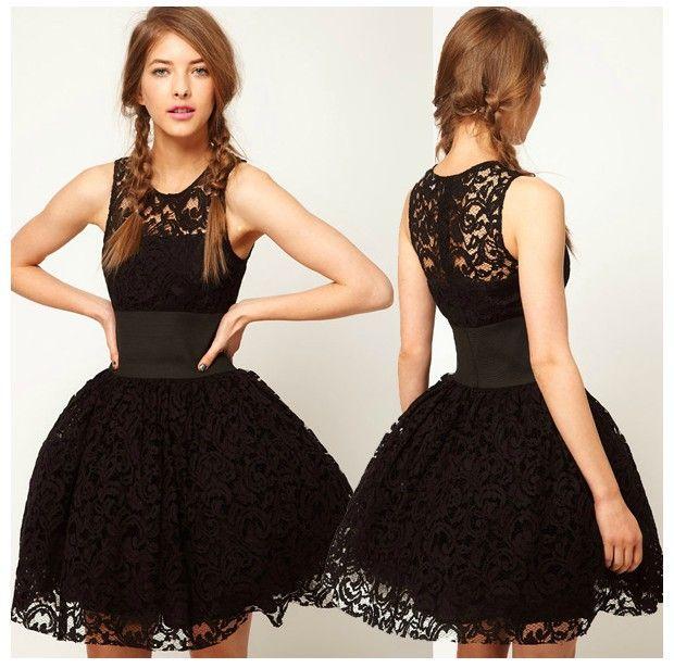 Vestito nero in pizzo corto y derecho
