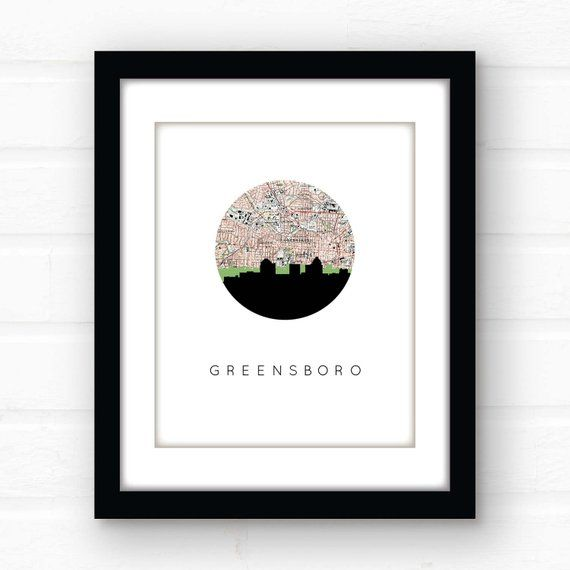 Greensboro NC map art print | Greensboro skyline art print ... on
