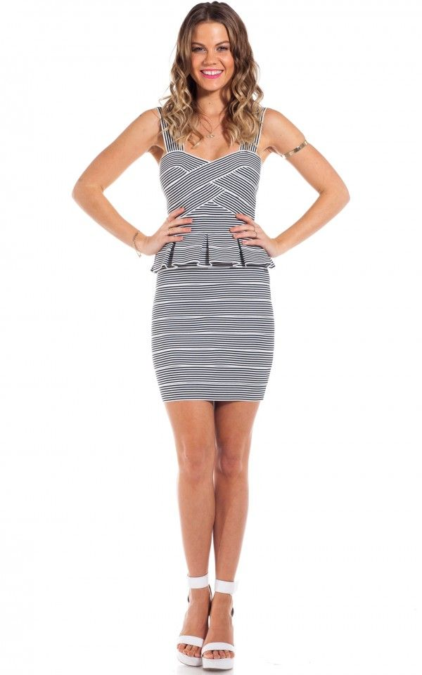 Captain dress in black white stripe   SHOWPO Fashion Online Shopping