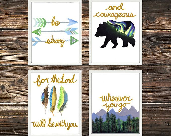 """""""Be strong and courageous for the Lord will be with you wherever you go."""" Boho nursery Christian Decor Prints Joshua 1:9 Bible Quote  Browse unique items from WildNorthCreations on Etsy, a global marketplace of handmade, vintage and creative goods."""
