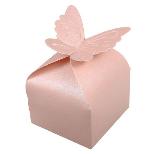 100pcs box candy wedding christening wedding box pink butterfly married decorative accessory