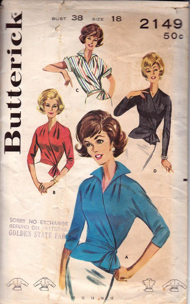 60s Wrap and Tie Blouse Pattern Butterick 2149 Vintage Sewing Pattern Size 18 Bust 38 Inches