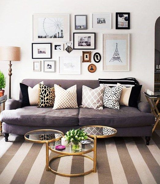Grey Couch With Decorative Pillows // Gold Circle Coffee Table // Gallery  Wall // Living Room Part 53
