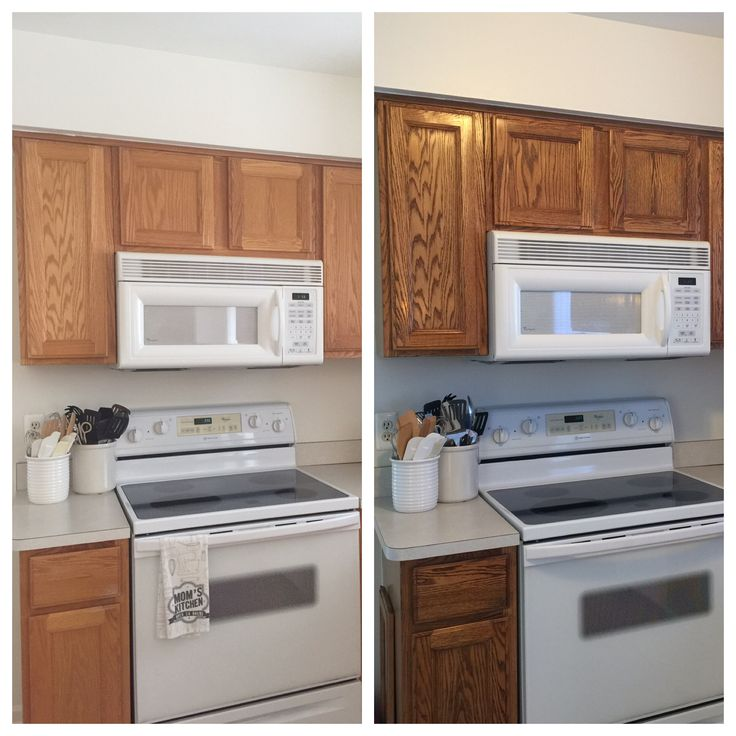 Golden Oak Kitchen Cabinets: Before/After. 20 Year Old Oak Cabinets Treated With Briwax