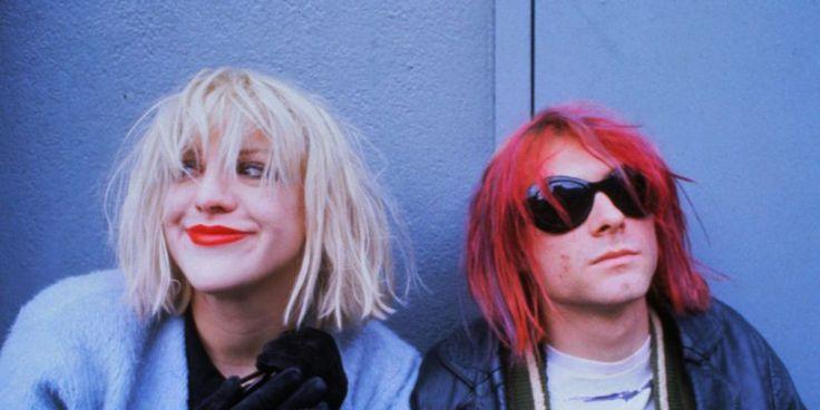 ca. 1992 --- Courtney Love and Kurt Cobain --- Image by © Dora Handel/CORBIS…