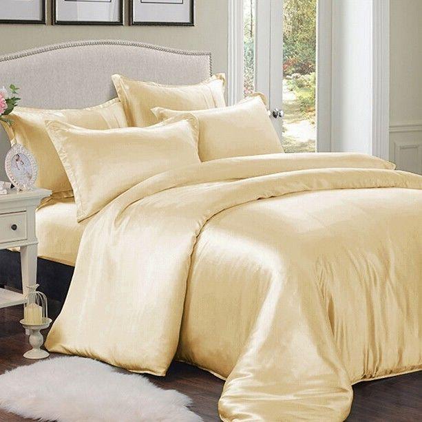 3 Pcs Silk Duvet Cover Set Silk Duvet Cover Silk Bedding Cheap Bed Sheets