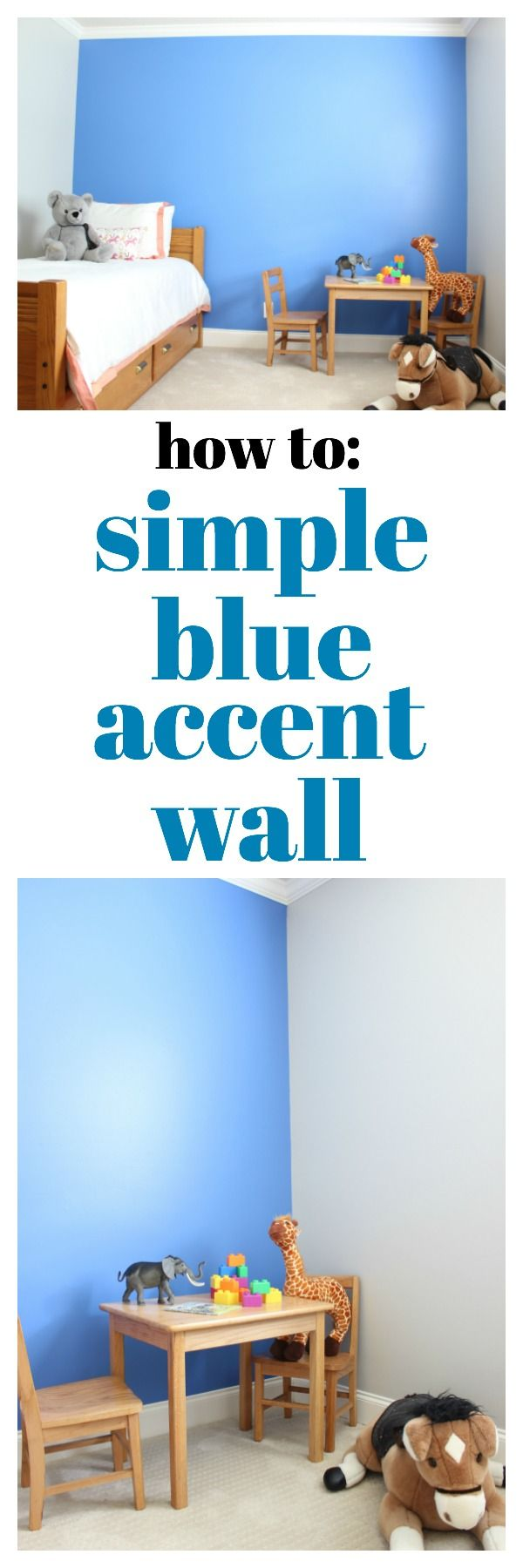 Tutorial for a Simple Blue Accent Wall using Behr's Boat House - great idea for…