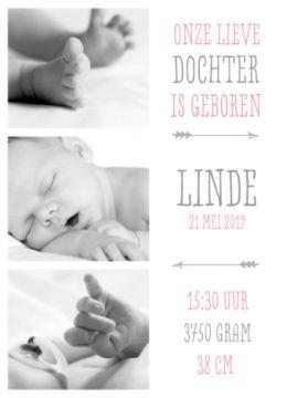 Geboortjekaartje fotos meisje met typografie