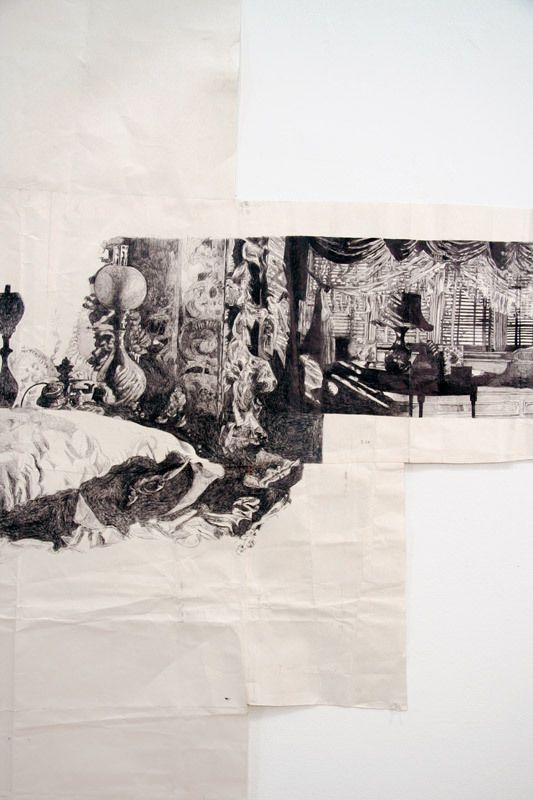 Dawn Clements, Mrs. Jessica Drummond's ('My Reputation,' 1945), 2010. Pen with ink on paper, 87.5 × 240 in. (222.3 × 609.6 cm). Collection o...