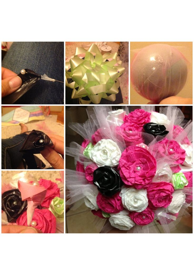 Prettier wedding rehearsal bouquet still using the ribbons from your bridal shower!