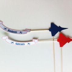 Topper - gateaux bonbons avion - couleur rouge ou bleu -thème aviation