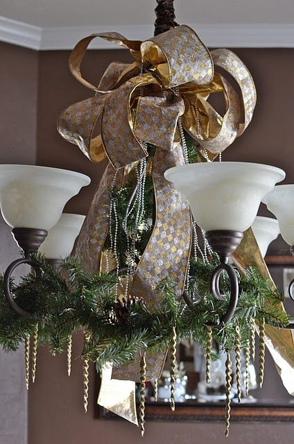 garland on the chandelier