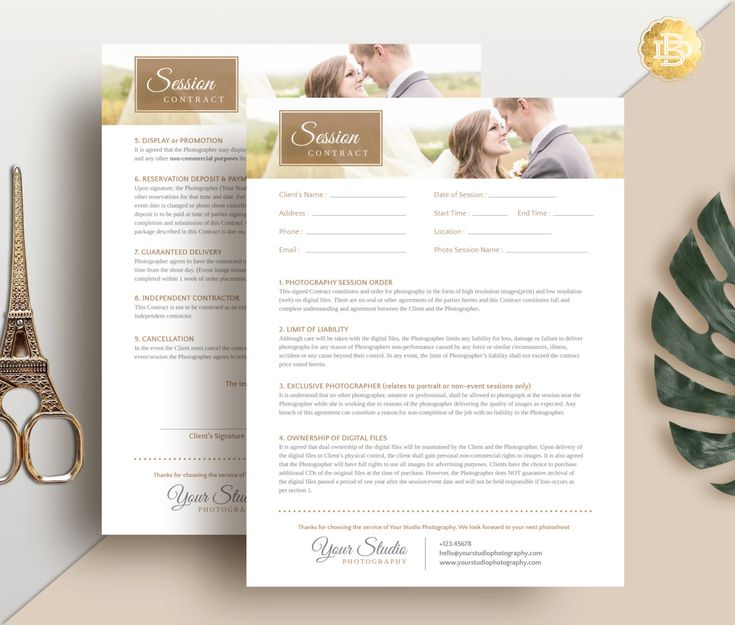 Session Contract Template for Photographer by BellenityDesign