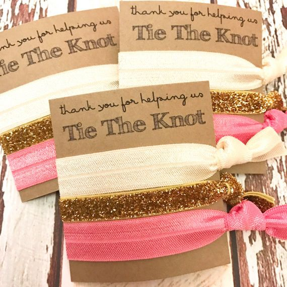 Bridesmaid Gift Hair Ties | Thank you for helping us tie the knot |  Wedding Favors | Hair Tie Favor | Bridal Party Favors - Tie The Knot