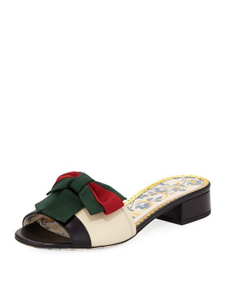 d2a3ea32f44 Leather Slide Sandal with Web Bow by Gucci at Neiman Marcus