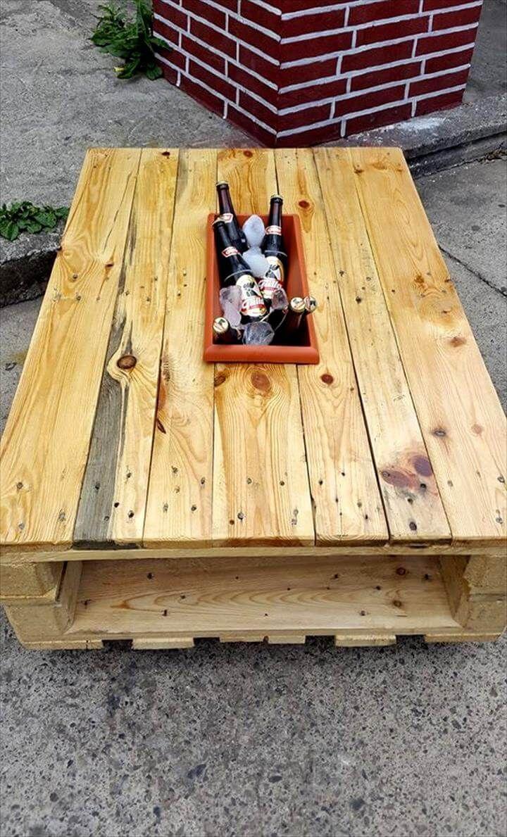 Paletten Couchtisch Mit Eis Box Pallet Kist Tafels Tuin Pallet
