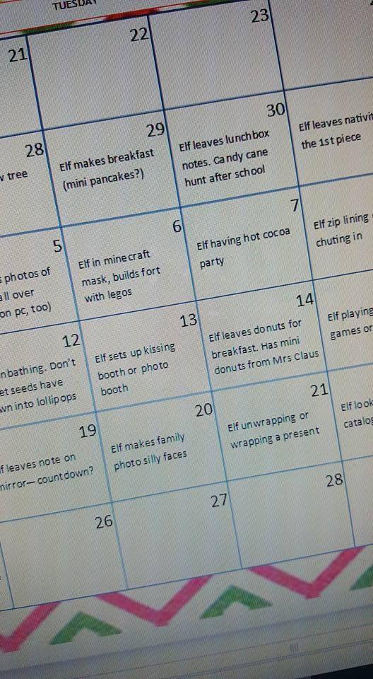 2016 Elf on the Shelf free calendar and 85 ideas!!