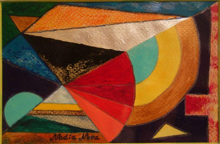 """Купить """"Веера""""- геометрическая картина абстракция в раме короб - комбинированный, картина акрилом в раме"""