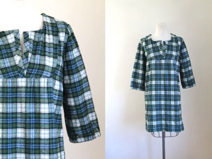 vintage wool dress - PREPPY PLAID flannel tunic / S/M by MsTips on Etsy https://www.etsy.com/listing/490903583/vintage-wool-dress-preppy-plaid-flannel