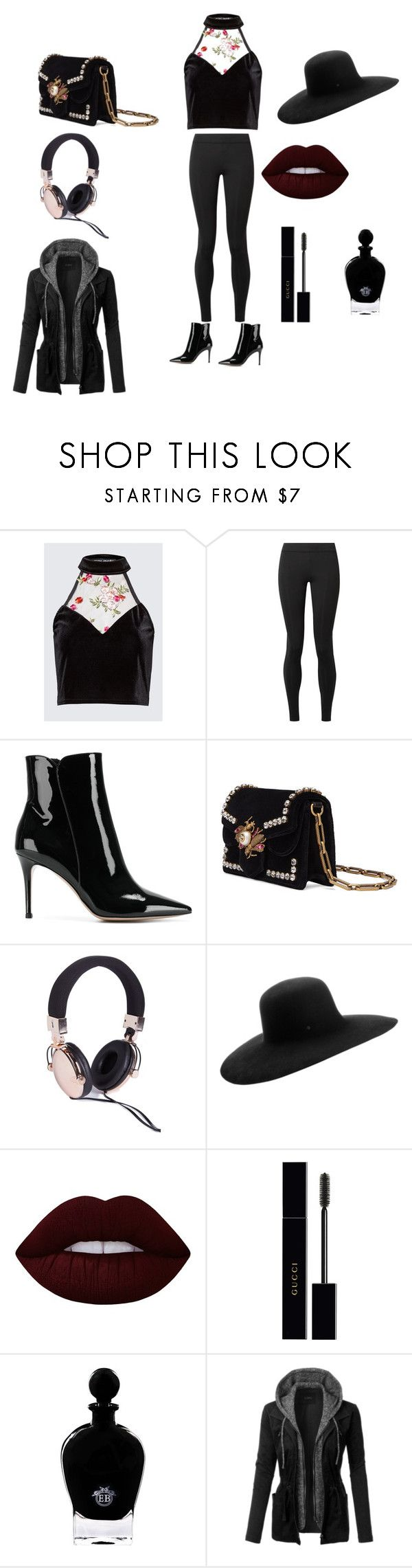 """""""bad girl look"""" by angelmvai on Polyvore featuring The Row, Gianvito Rossi, Gucci, Maison Michel, Lime Crime, EB Florals and LE3NO"""