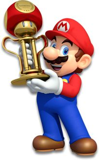 Mario holding the Mushroom Cup trophy - Mario Kart 8