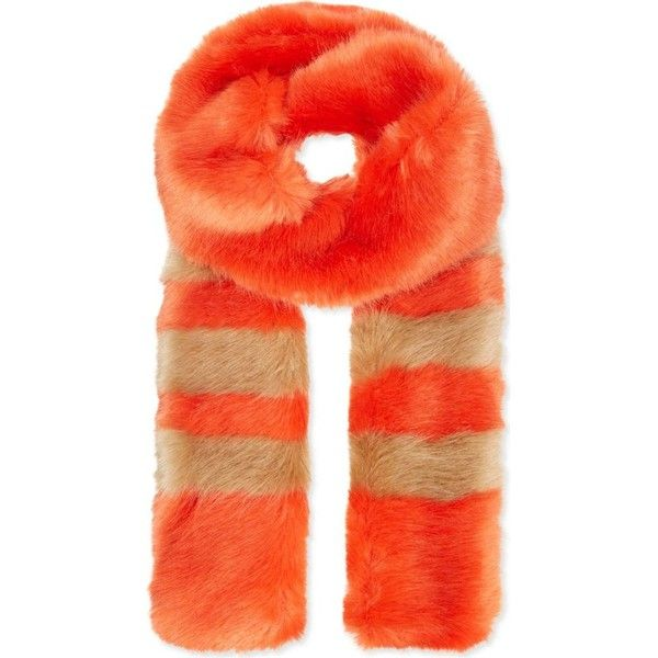 SHRIMPS Ivana faux fur scarf (286,200 KRW) ❤ liked on Polyvore featuring accessories, scarves, flame with camel stripes, fake fur scarves, fake fur shawl, faux fur scarves, striped scarves and faux fur shawl