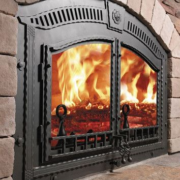 Napoleon High Country Wood Burning Fireplace Insert - love the iron work and the arch