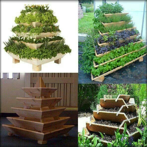 """""""Food pyramid"""" great way to maximize space and reduce overwatering.  Just be sure all of the plants selected will grow well together."""