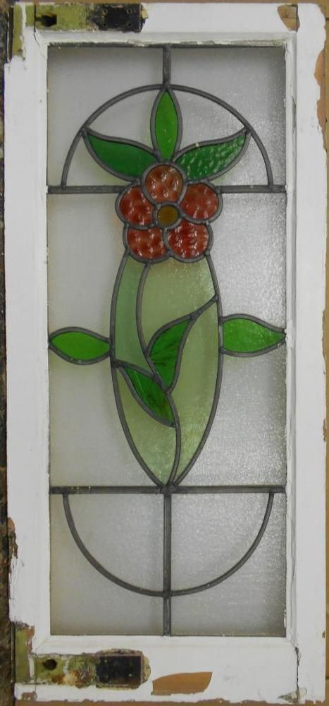 """LARGE OLD ENGLISH LEADED STAINED GLASS WINDOW Beautiful Floral 16.75"""" x 36.75"""""""