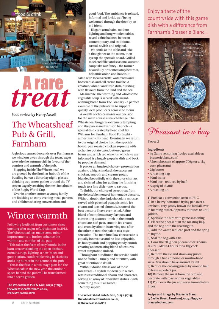 A rare treat ~ Why The Wheatsheaf in Farnham really does have it all. Plus, a game recipe with a difference from Brasserie Blanc... #locallife #Farnham #Surrey #food #drink #review