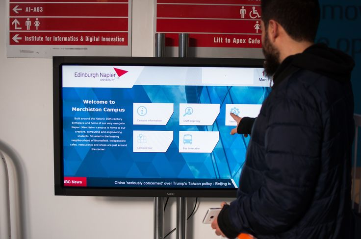 Another touch screen located in Merchiston campus, allowing both students and visitors to access information regarding the university.  A lot of screens are featured in the lobby but few are as interactive as this one.