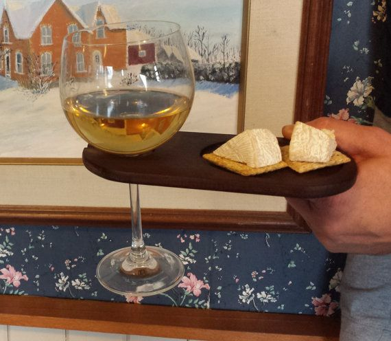 Set of 2 Peruvian walnut party / wine plates.  A perfect solution to carrying a wine glass and plate of food at walk-around parties thats