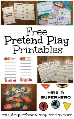 Free pretend play printalbes including restaurant, beauty salon, play money, superheros and more!