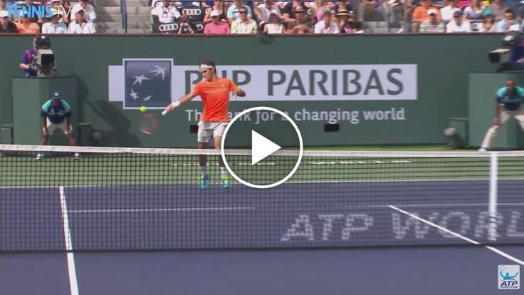 Roger Federer plays terrific rally vs Novak Djokovic - 2015 Indian Wells