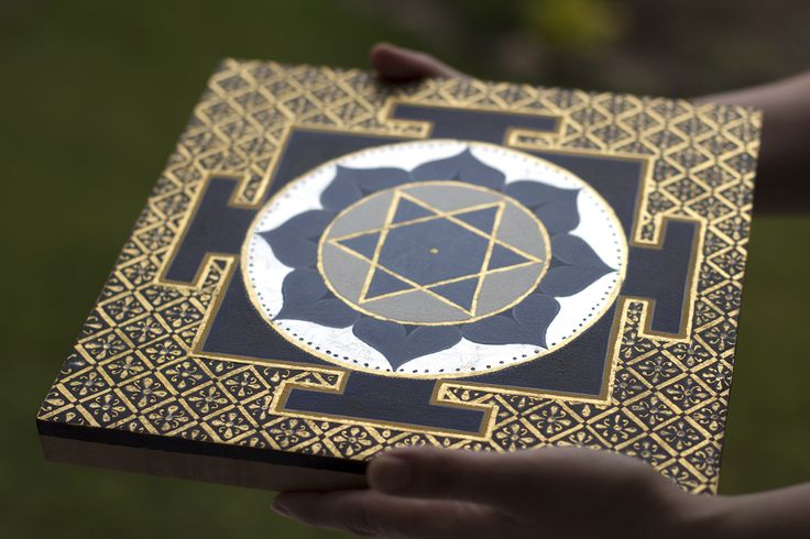 Saturn Yantra. Wooden panel, gesso, egg tempera, 24 carat gold and silver.