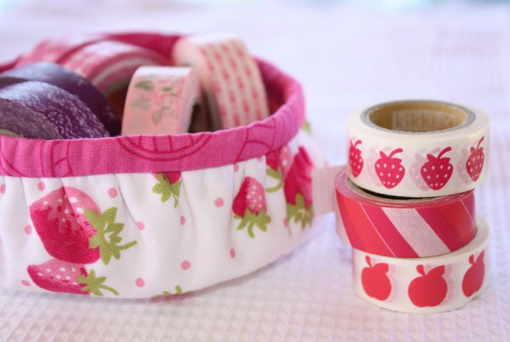 """Fabric covered baskets - also make nesting sizes.  I 'd rather see a not so pretty recycled item covered. From """"A Spoonful of Sugar """""""