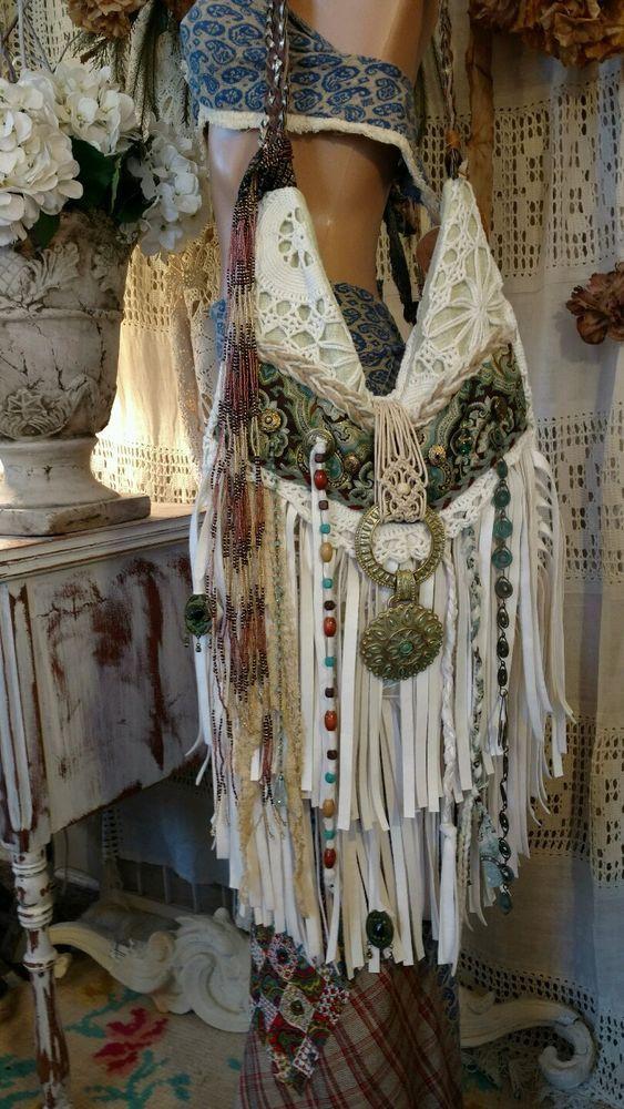 Handmade VEGAN Bag Vintage Lace Crochet Faux Ivory Leather Fringe Purse tmyers  #Handmade #ShoulderBag