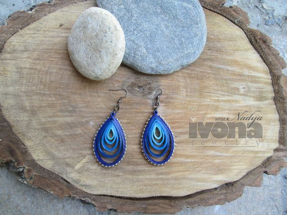 Quilling earrings Blue Drop Paper Quilling Paper by ivonabg