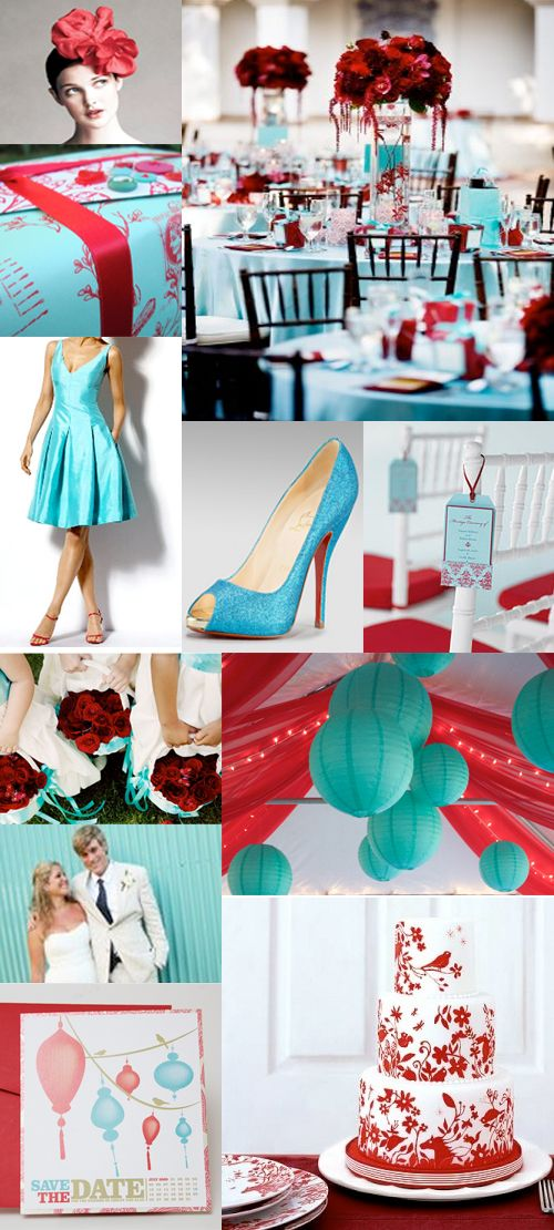Red And Teal Themed Wedding carnival wedding theme 11