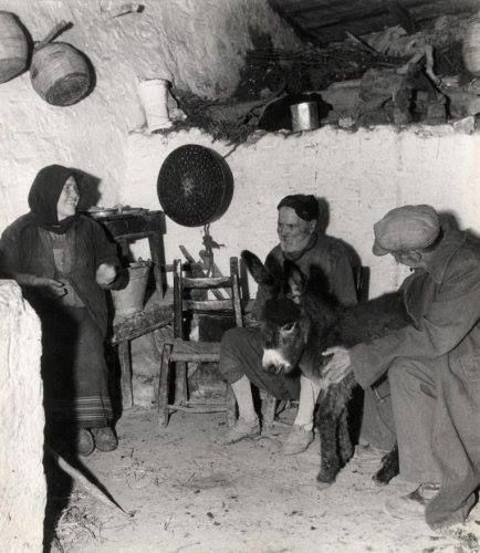 Crete..Two men, a woman and a donkey together in a room ...