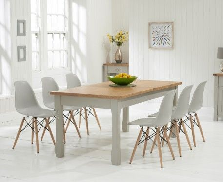 Somerset 180cm Oak and Grey Extending Dining Table with Charles Eames Style DSW Eiffel Grey Chairs