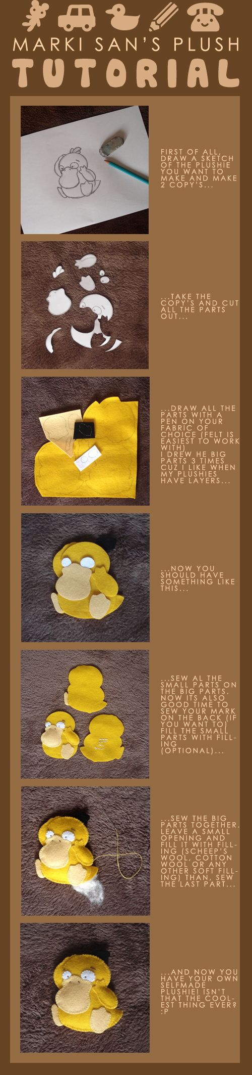 Make your own plushie! Great for Pokemon or any other cute little figures you want to memorialize in felt.